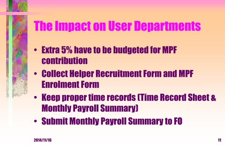 The Impact on User Departments