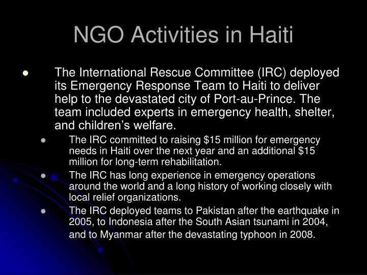 NGO Activities in Haiti
