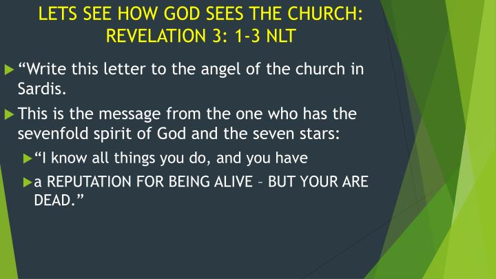 LETS SEE HOW GOD SEES THE CHURCH: