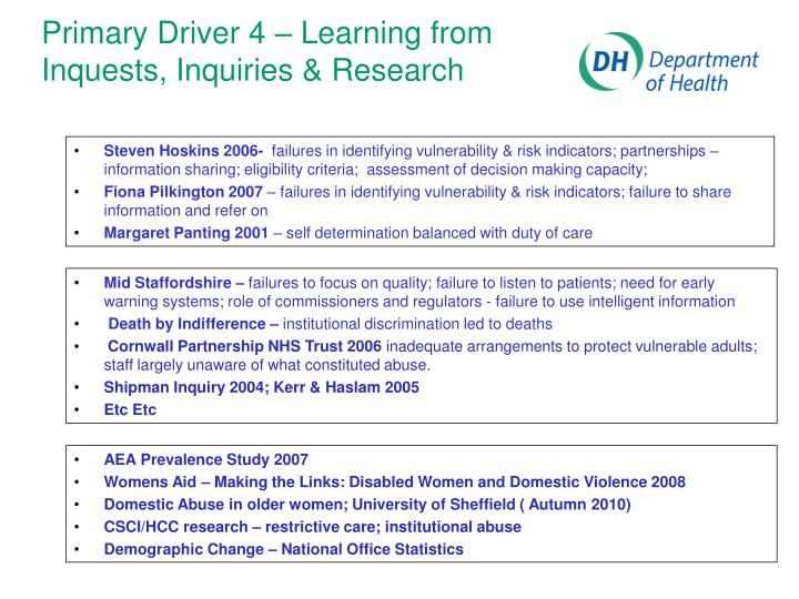 Primary Driver 4 – Learning from Inquests, Inquiries & Research