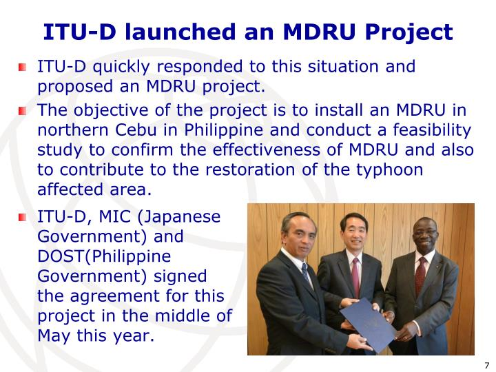 ITU-D launched an MDRU Project