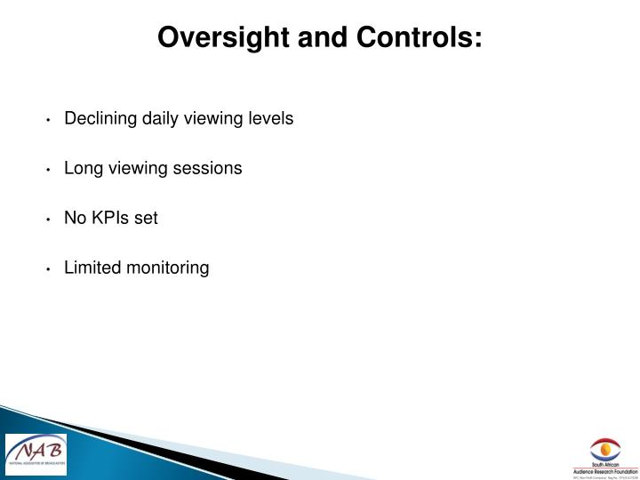 Oversight and Controls: