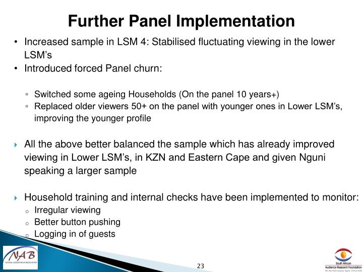 Further Panel Implementation