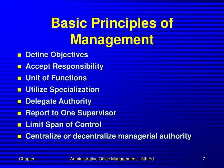 Basic Principles of Management