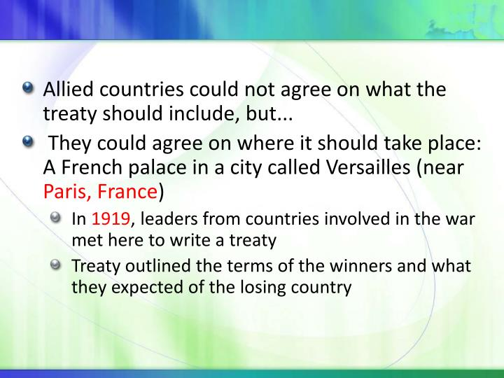 Allied countries could not agree on what the treaty should include, but...
