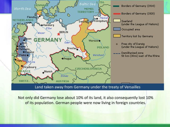 Land taken away from Germany under the treaty of Versailles