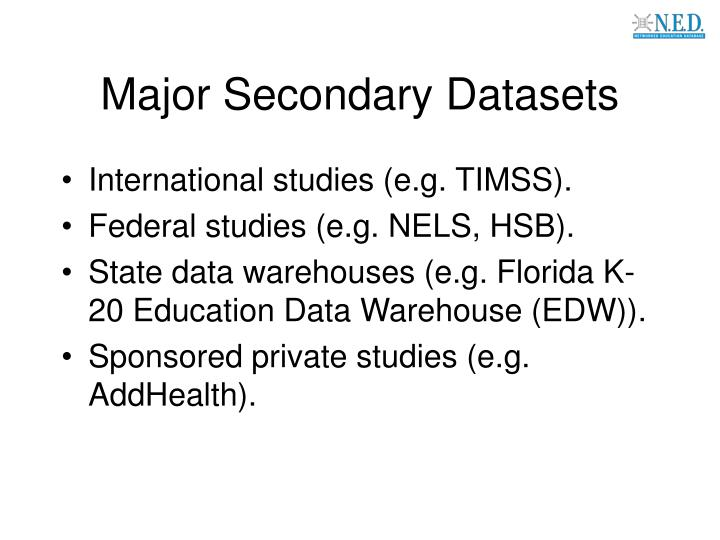 Major Secondary Datasets