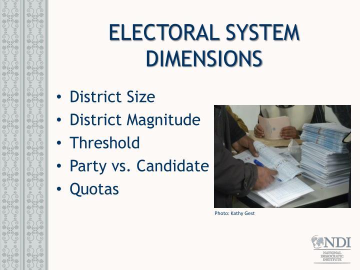 ELECTORAL SYSTEM DIMENSIONS