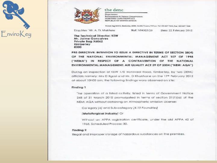 Pre-Directive Letter