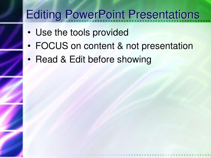 Editing PowerPoint Presentations