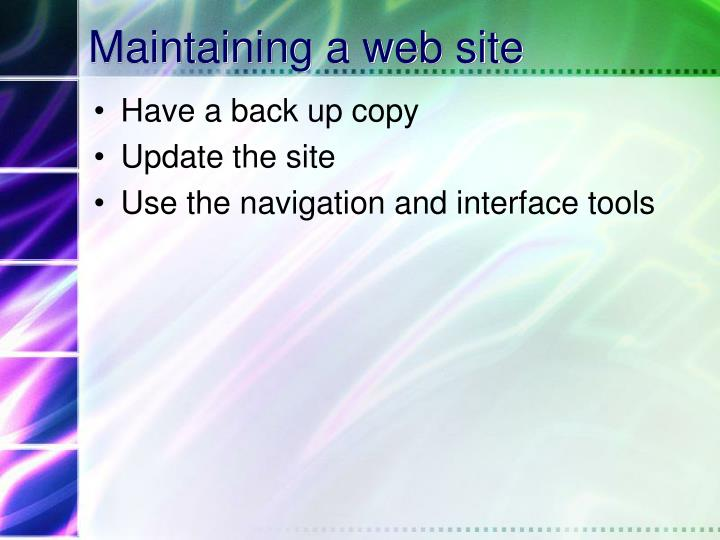 Maintaining a web site