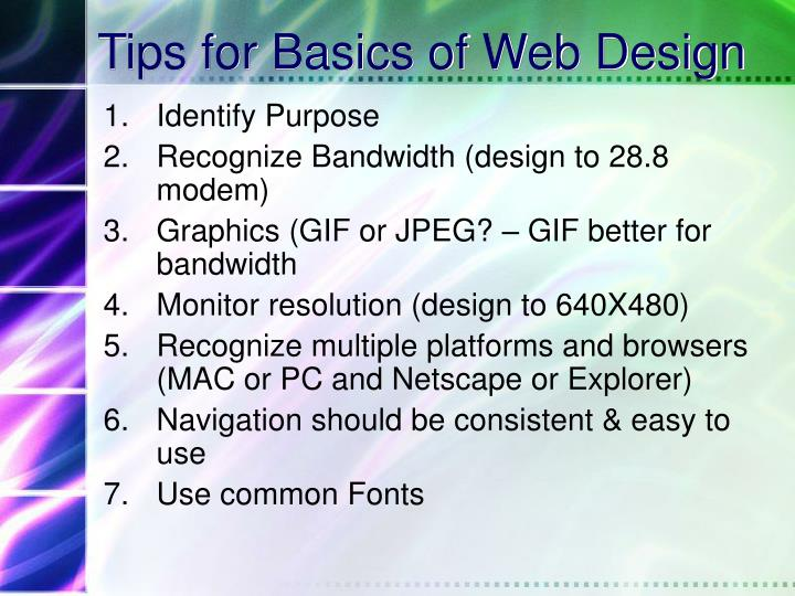 Tips for Basics of Web Design