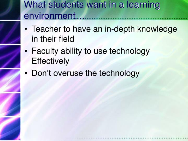 What students want in a learning environment…