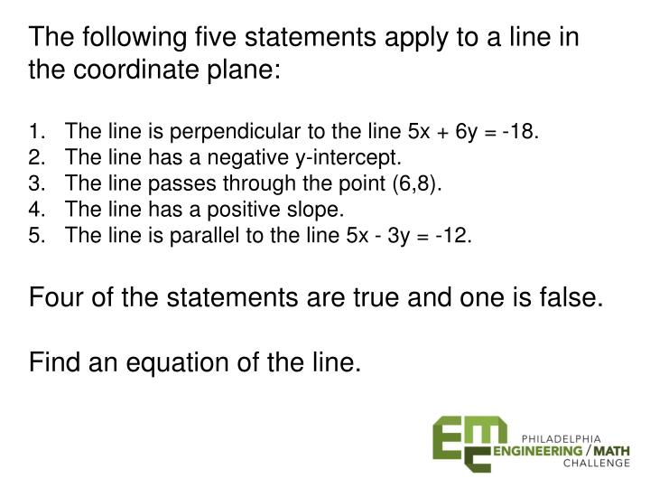 The following five statements apply to a line in the coordinate plane: