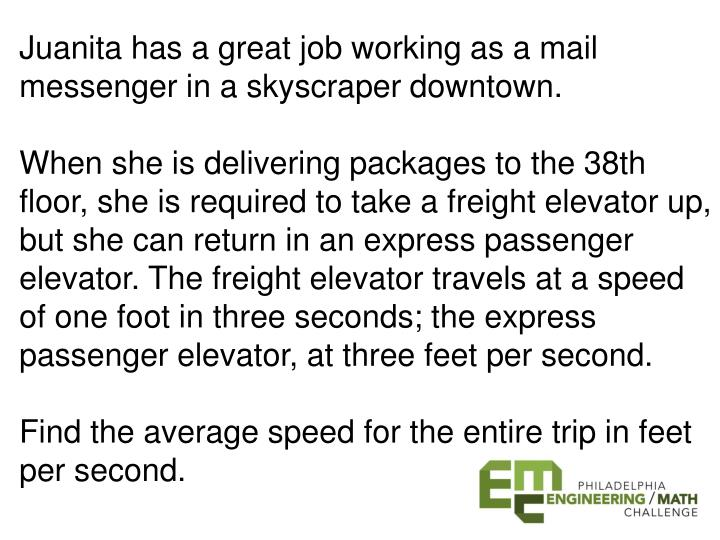 Juanita has a great job working as a mail messenger in a skyscraper downtown.
