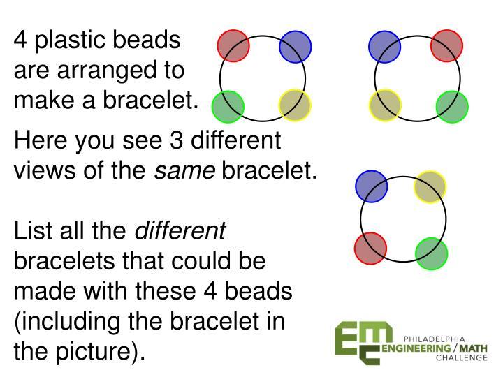 4 plastic beads