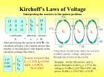 kirchoff s laws of voltage interpreting the answers to the matrix problem