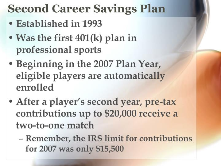 Second Career Savings Plan