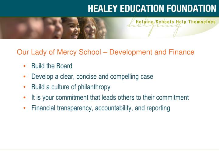 Our Lady of Mercy School – Development and Finance