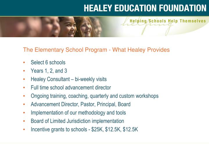 The Elementary School Program - What Healey Provides