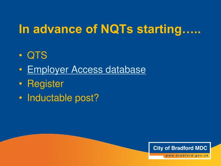 In advance of NQTs starting…..