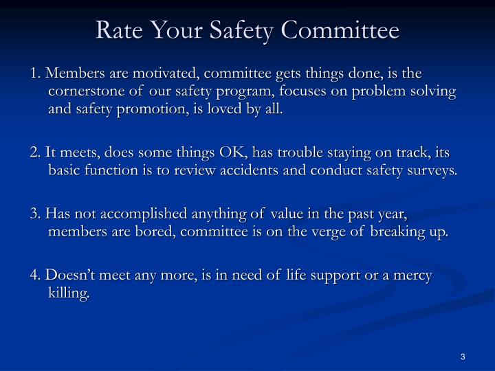 Rate your safety committee