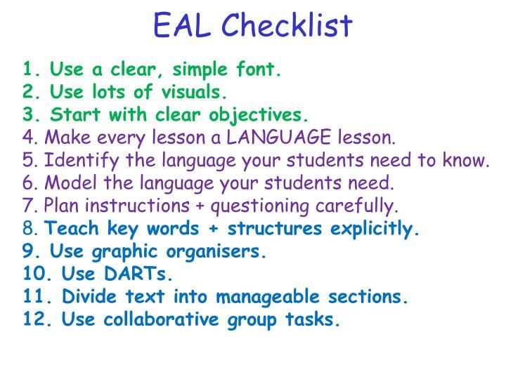 EAL Checklist