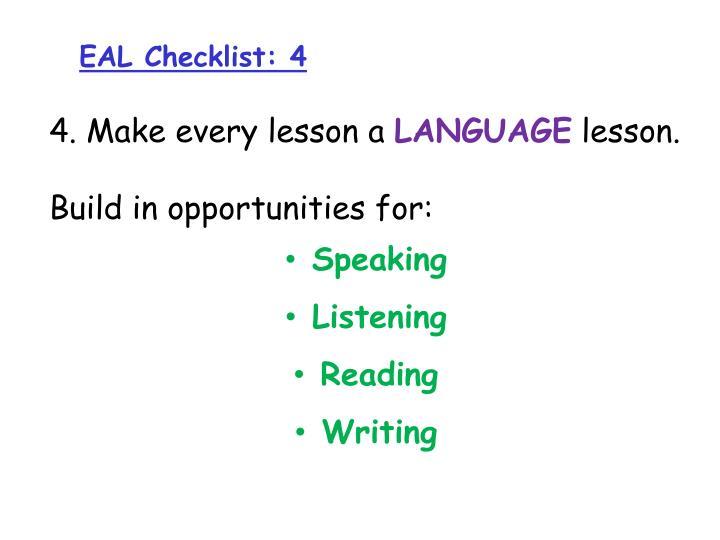 EAL Checklist: 4