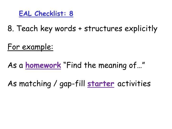 EAL Checklist: 8