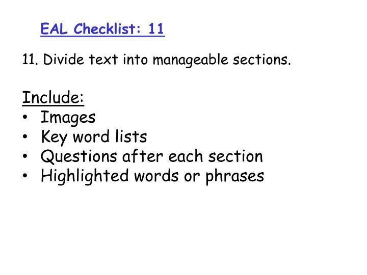 EAL Checklist: 11