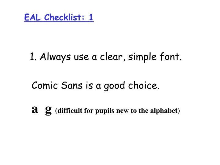 EAL Checklist: 1