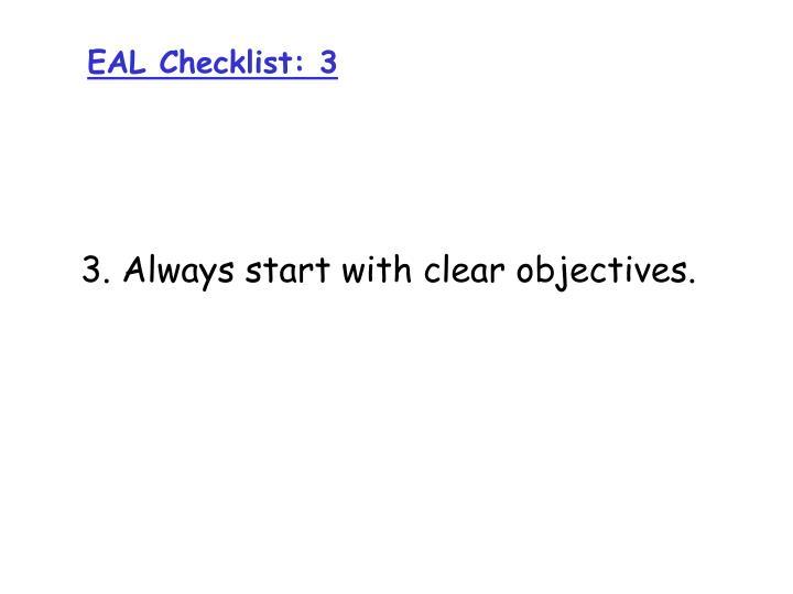 EAL Checklist: 3