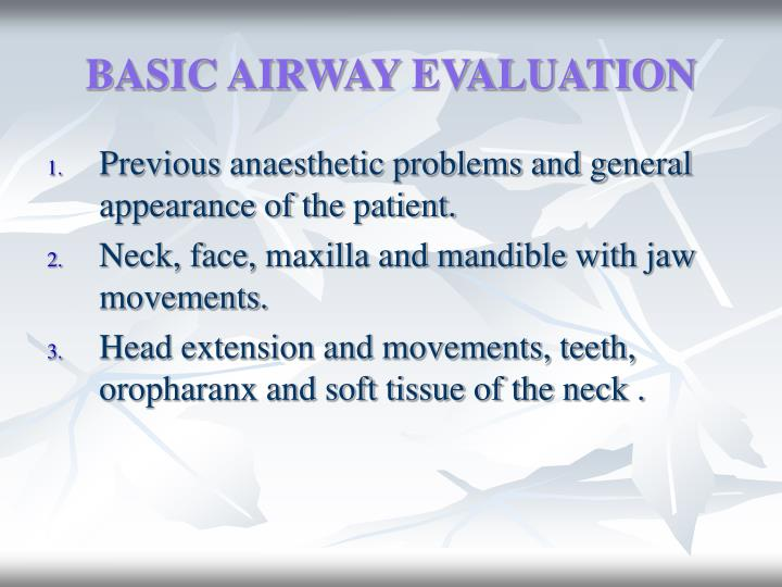 BASIC AIRWAY EVALUATION