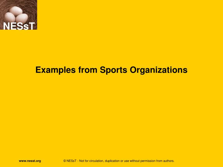Examples from Sports Organizations