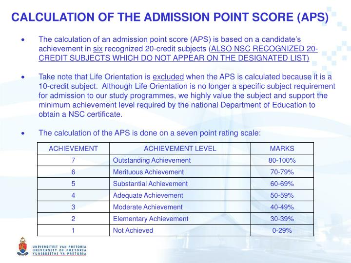 CALCULATION OF THE ADMISSION POINT SCORE (APS)
