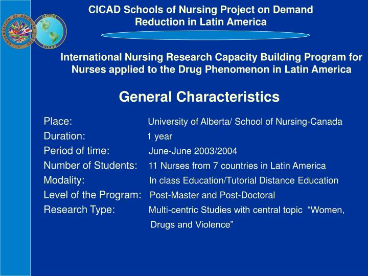 CICAD Schools of Nursing Project on Demand Reduction in Latin America