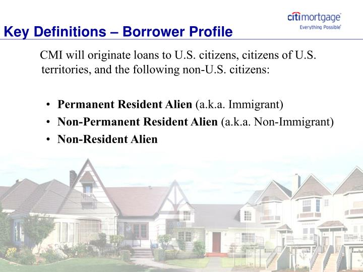 Key Definitions – Borrower Profile