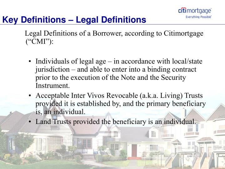 Key Definitions – Legal Definitions