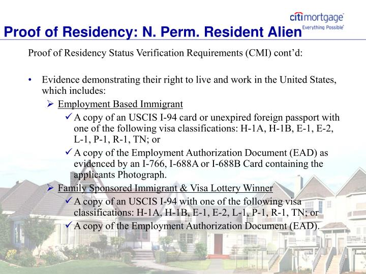 Proof of Residency: N. Perm. Resident Alien