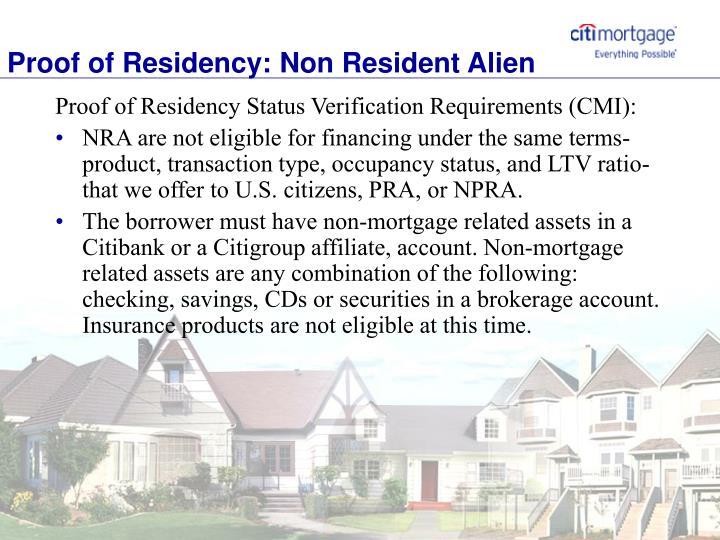 Proof of Residency: Non Resident Alien