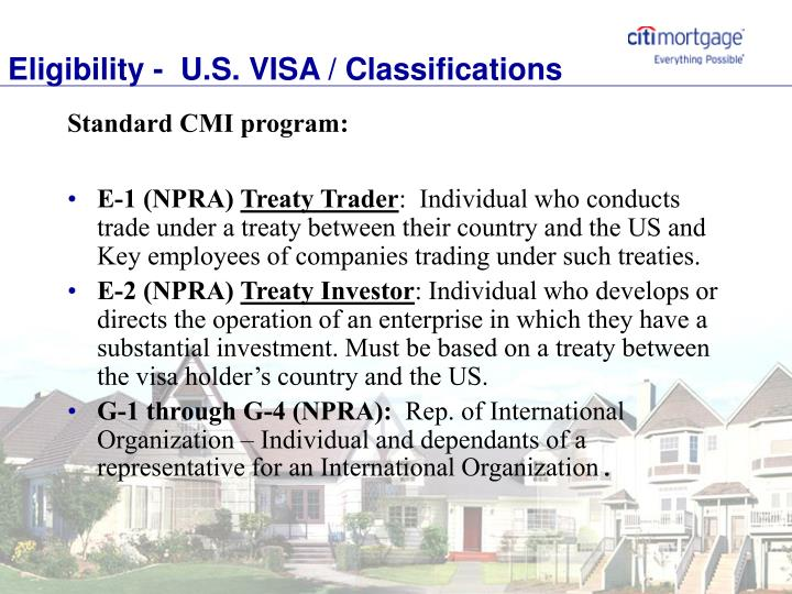 Eligibility -  U.S. VISA / Classifications