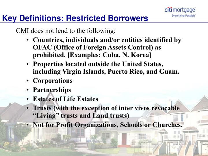 Key Definitions: Restricted Borrowers