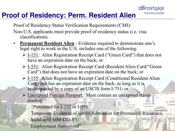 Proof of Residency: Perm. Resident Alien