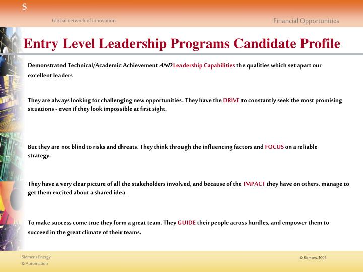 Entry Level Leadership Programs Candidate Profile