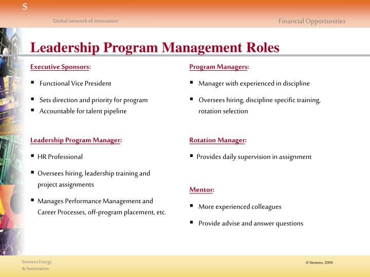 Leadership Program Management Roles