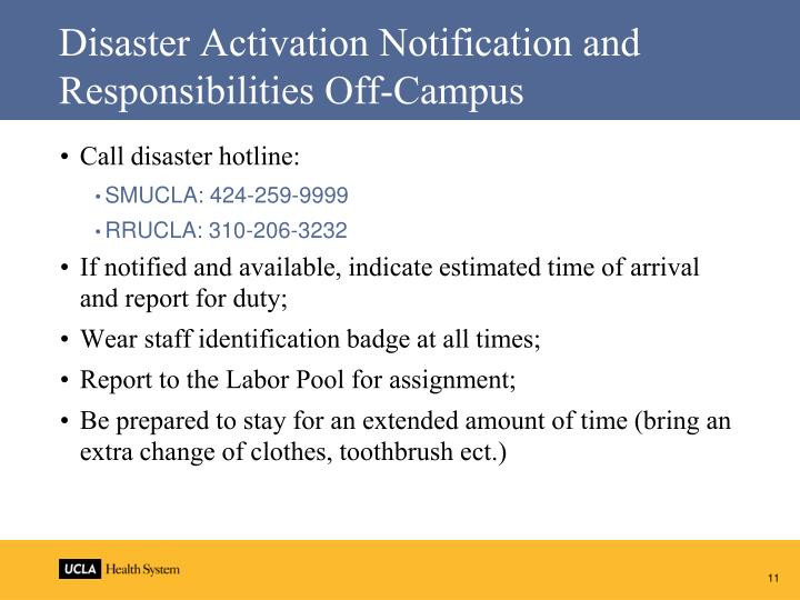 Disaster Activation Notification and Responsibilities Off-Campus