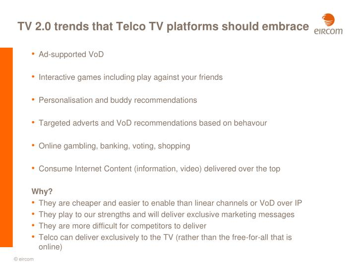 TV 2.0 trends that Telco TV platforms should embrace