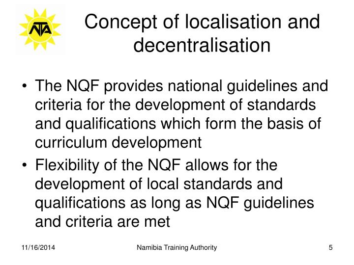 Concept of localisation and decentralisation