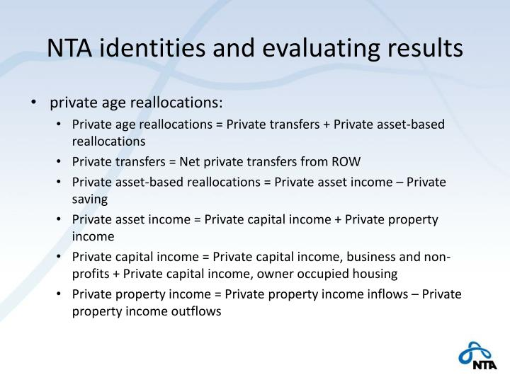 NTA identities and evaluating results