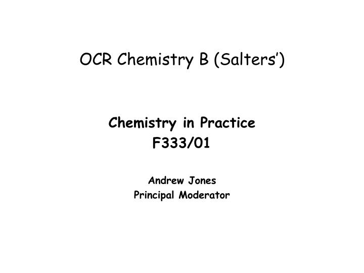ocr b a2 chemistry coursework